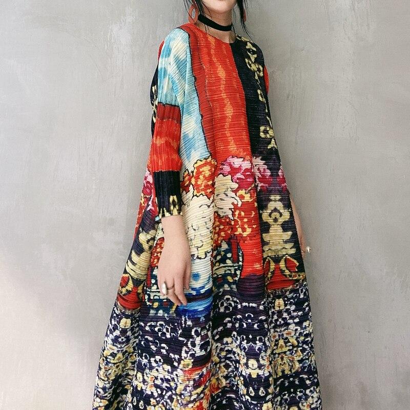 LANMREM 2020 nuevo vestido largo plisado de bloque de color de cuello redondo con estampado de primavera para mujeres Vintage vestido de temperamento de línea a suelto PD783