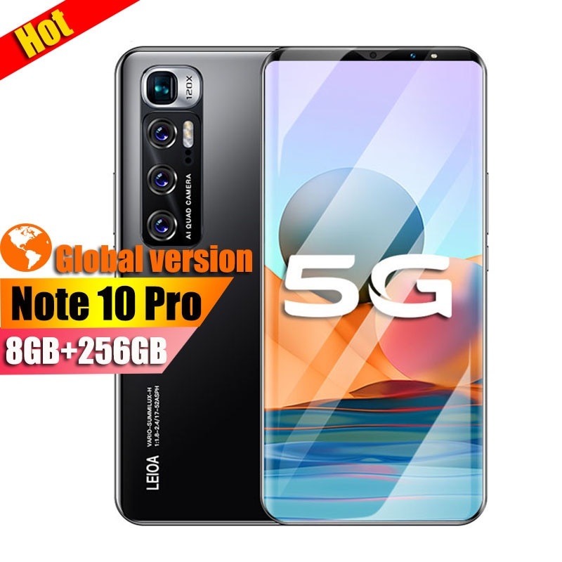 2021New version Note10 Pro smartphone 8GB+256GB android cellphone Telephone 32MP Camera Celular Daul 4800mAh 4G 5G mobile phone