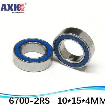 10 unids/lote de alta calidad ABEC-3 Z2V2 cubierta de sellado de goma doble azul rodamiento de bolas de ranura profunda 6700-2RS 10*15*4mm