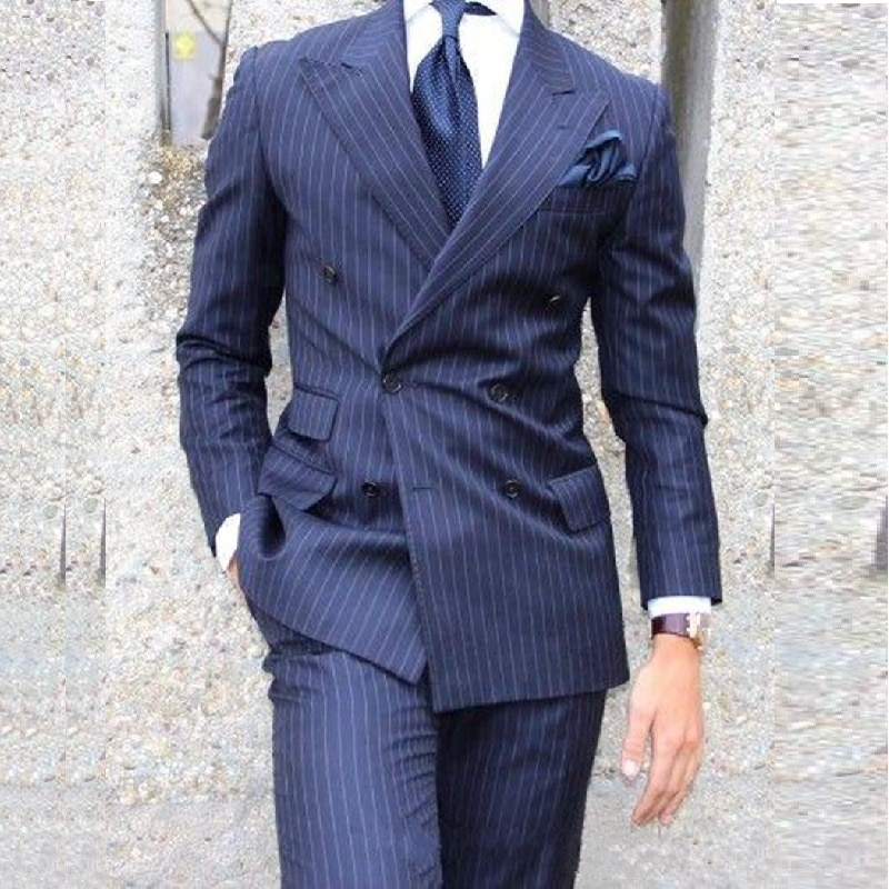 Classic Navy Blue Stripe Men Suits Groom Tuxedos Groomsmen Best Man Wedding Suits Bridegroom Busines