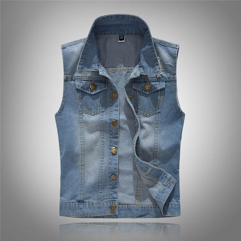 HOT New 2020 Slim Fit Cowboy Male Jacket Vest Ripped Denim Vest Men's Jacket Sleeveless Casual Waistcoat Men's Jean Coat M-5XL