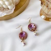 hot sale purple color bird drop earrings japan sweet temperament pendant retro geometric hollow ear hanging ear clip hook 2020