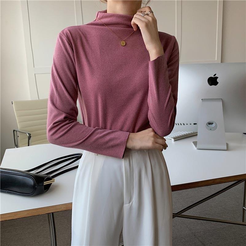 Solid Basic Long Sleeve Women Small High Neck Skinny Tshirt Casual Simple Black Fashion Top Female T Shirt Ladies Fashion Tee