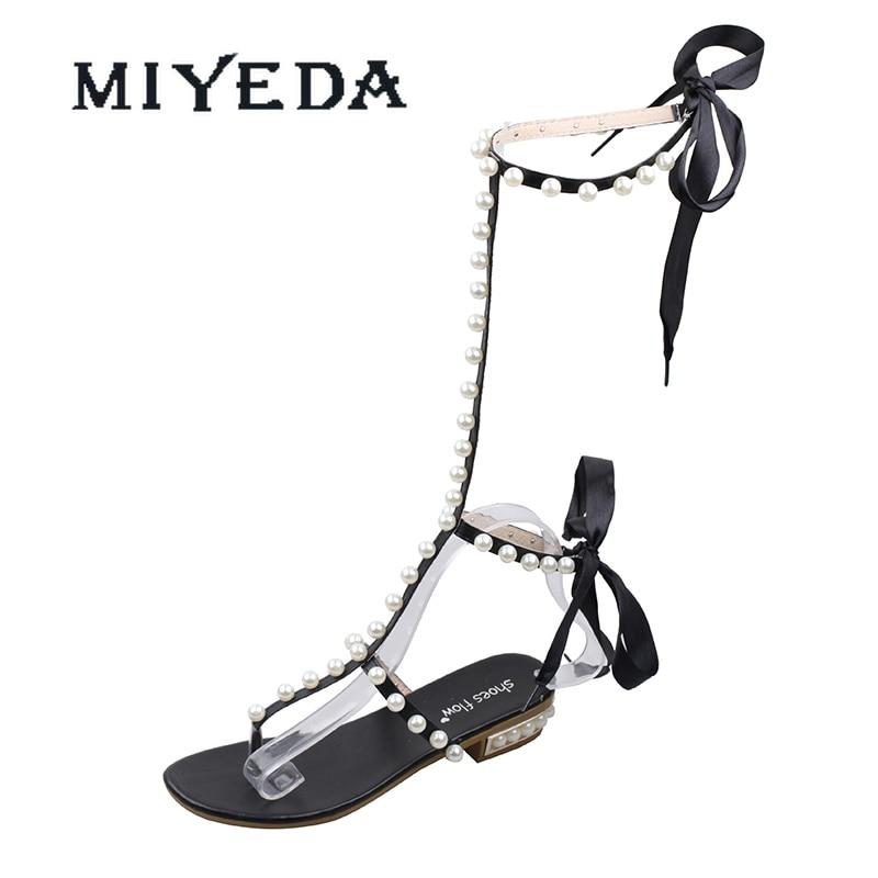 MIYEDA Sandals Ladies Bohemia Beach Flip Flop Pearl Decoration Summer T-strap Casual Women Shoes Sweet Female Flats