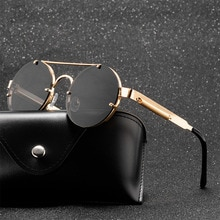 Round Steampunk Sunglasses Men 2020 Fashion Elastic Teaples Brand Designer Vintage Rimless Sun Glass