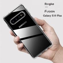 Ringke Fusion conçu pour Galaxy S10 Plus étui en Silicone souple et coque arrière rigide transparente hybride