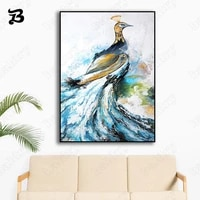 canvas painting wall art pink blue peacock animal good luck happiness wall pictures prints for home decoration mural room decor
