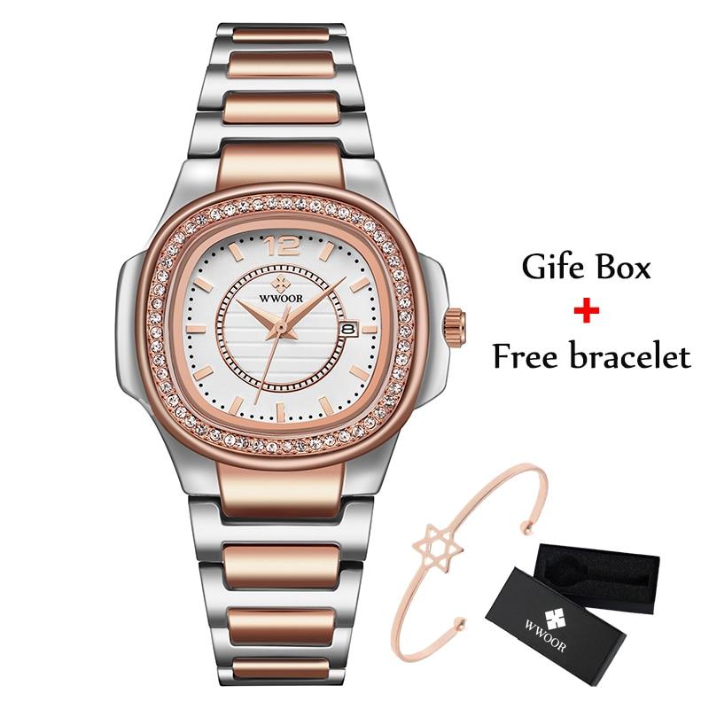 Luxury Rose Gold Watch Women WWOOR Fashion Brand Diamond Ladies Quartz Wrist Watch Female Stainless Steel Waterproof Date Watch enlarge