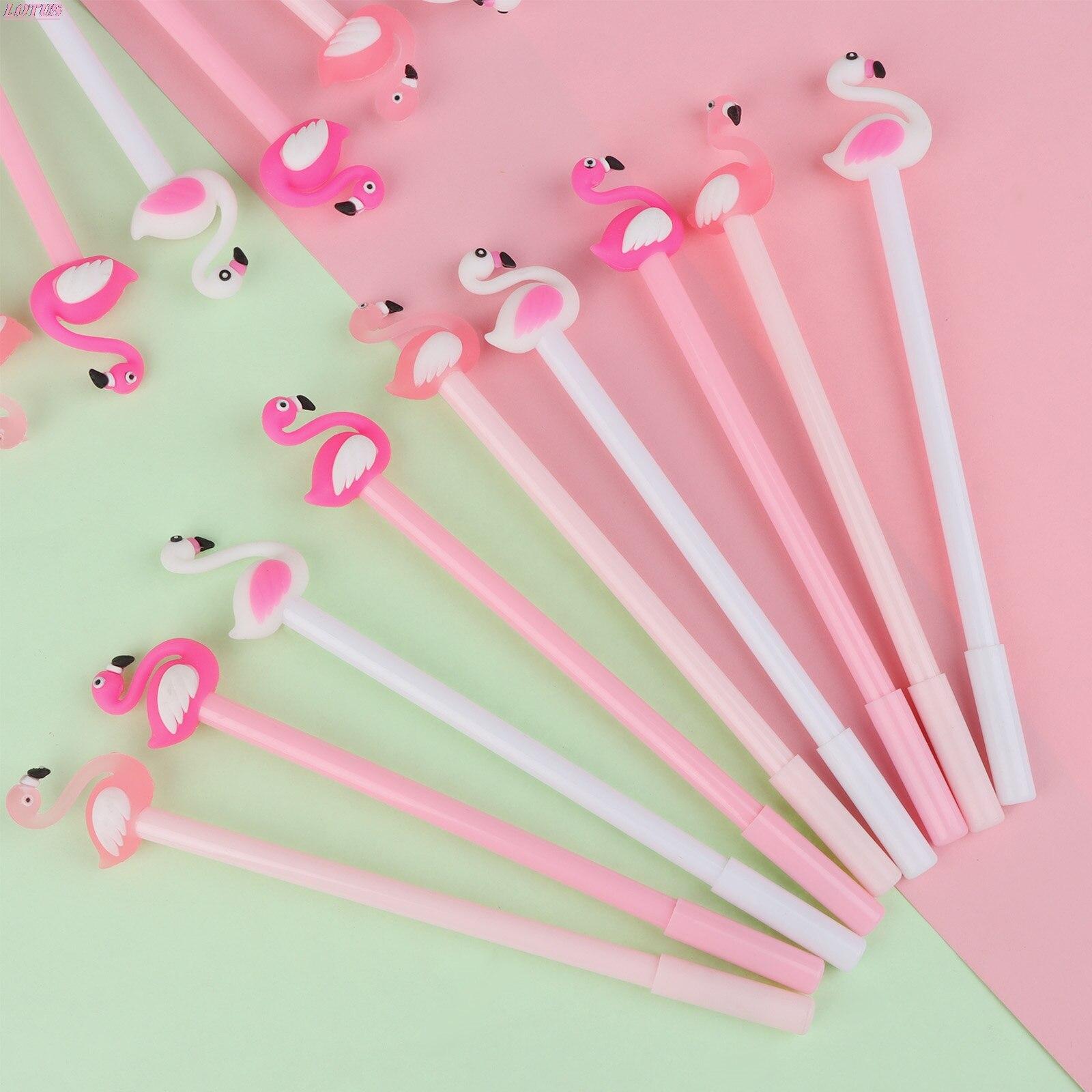 30 шт. оптовая продажа, творческая мультяшная ручка с фламинго, черная Студенческая бумажная ручка, оптовая продажа