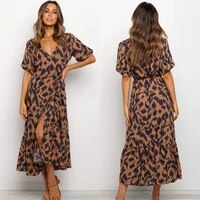 2021 summer new v neck short sleeve lace up temperament printing swing long dress strawberry dress