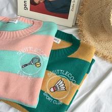 Cartoon Racket Embroidery Sweater Women's 2019 New Harajuku Striped Pullover Sweater Korean Casual Loose Badminton Sweater