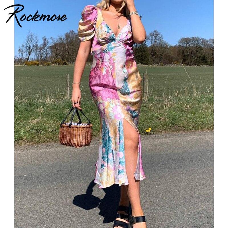 Rockmore Printed Maxi Dresses Summer Bodycon Women Puff Sleeve Y2K Party Split Long Dress Sexy Vintage V Neck Midi Sundress