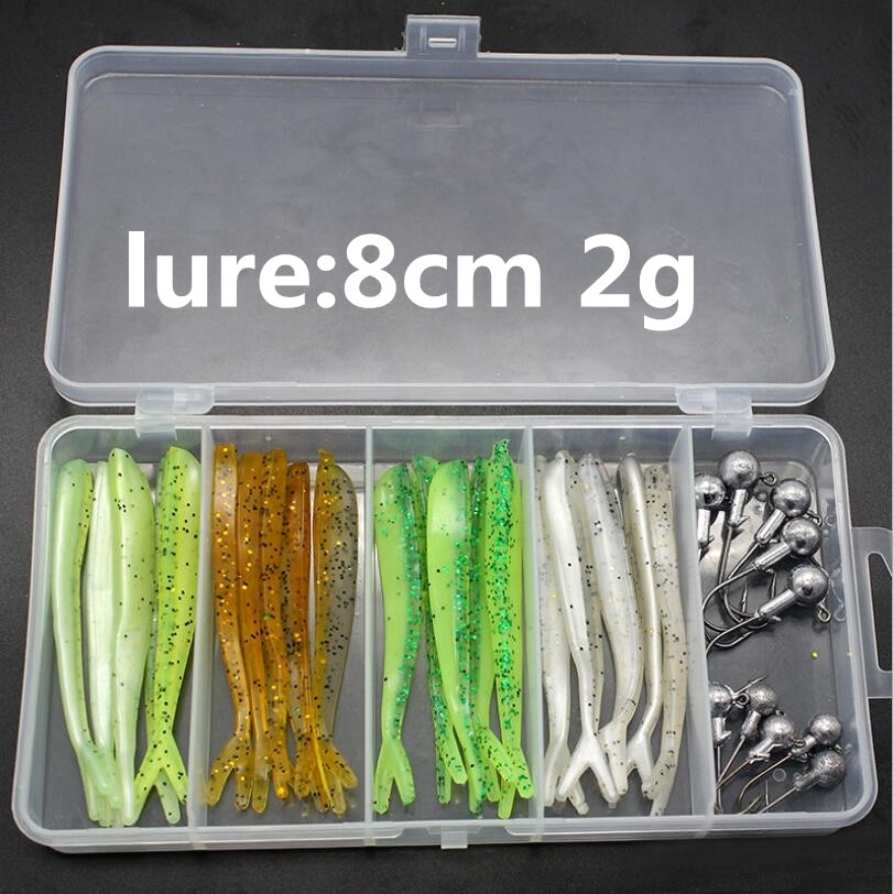 BaMMax Fishing Lures Set 31pcs soft Lure Worm Bait Carp Jig Head Lead Hook with Box Fishing Tackle pesca enlarge