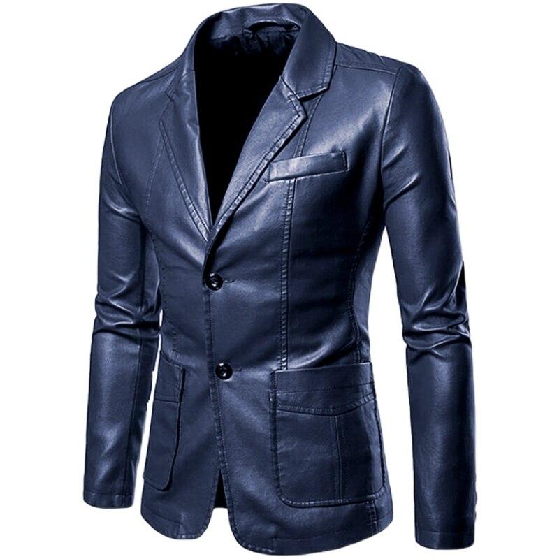 لطيفة الربيع الخريف رواج البوب الرجال عادية التلبيب فستان جلد دعوى معطف/الذكور رواج الأعمال عادية بولي Pu بليزرات سترة