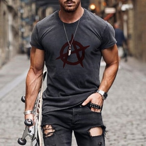 Men's short sleeve T-shirt, fashion 3D printed top, personality trend, 2021 element T-shirt, simple and versatile