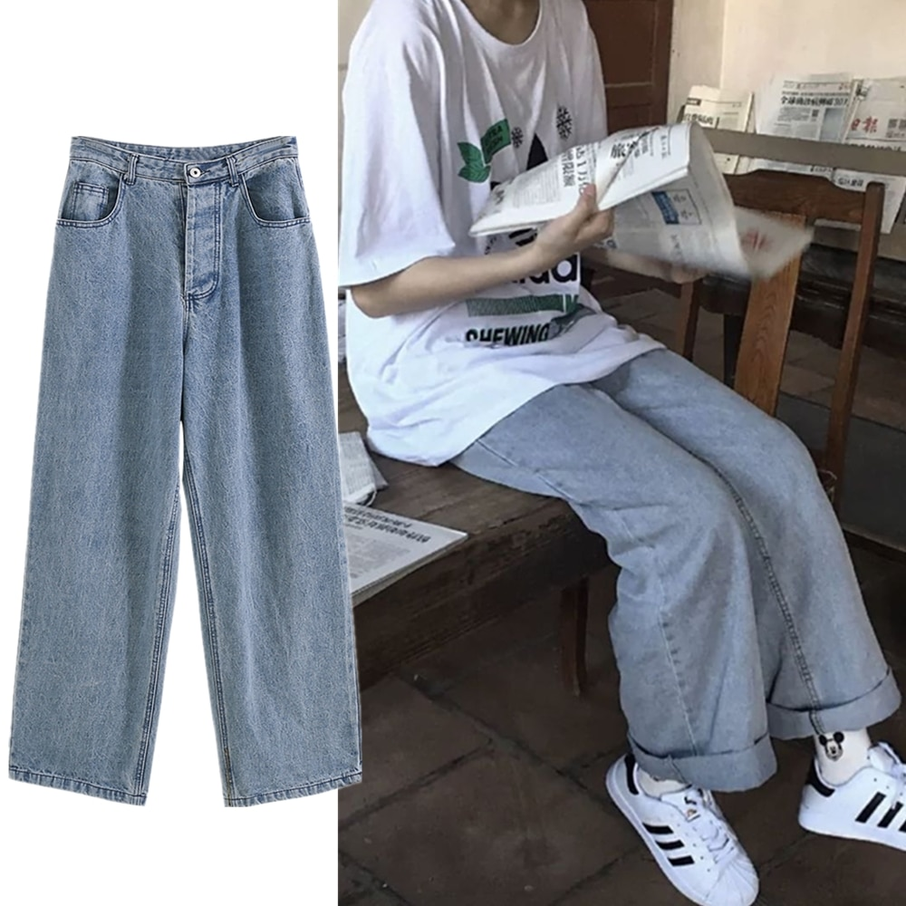 2021 Spring Autumn New Korean Style Loose Straight Jeans Women's Large Size Fat mm Draping Slimming