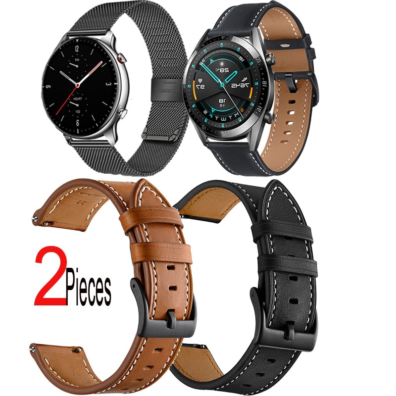 Leather Strap For Huawei Watch GT 2e 46mm Honor Magic 2 42mm Bracelet Wristband Milanese Smart Watch Band 20mm 22mm Watchband недорого