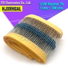 100pcs 1/4W 1R ~ 22M 1% resistore a film Metallico 100R 220R 1K 1.5K 2.2K 4.7K 10K 22K 47K 100K 100 220 1K5 2K2 4K7 ohm resistenza