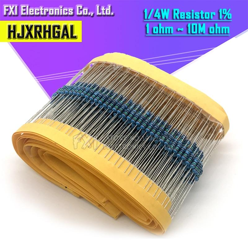 Resistor de película metálica 100R 220R 1K 100K 1% K 1,5 K 2,2 K 10K 22K 47K 4,7 K 100 100 1K5 2K2 4K7 ohm, resistencia a 220 pzs