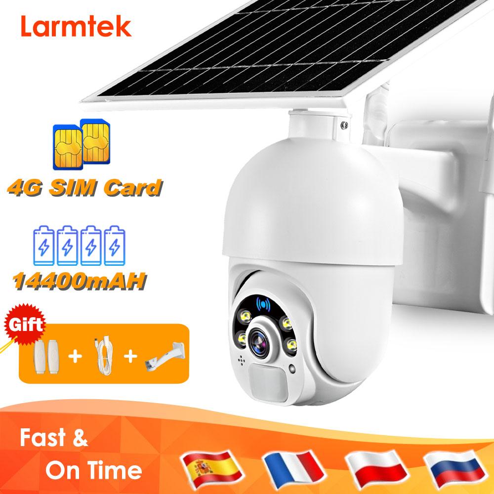 كاميرا بشريحة 4G مزودة بواي فاي 1080P كاميرا مراقبة خارجية تعمل بالطاقة الشمسية CCTV كاميرا مراقبة للرؤية الليلية مزودة ببطارية