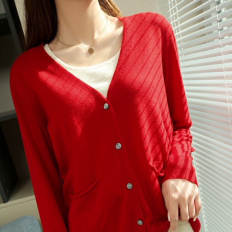 New Style 100% Wool Knitting Cardigans for Women long Sleeve V-Neck Female Sweaters 2021 New spring Woolen Clothes enlarge