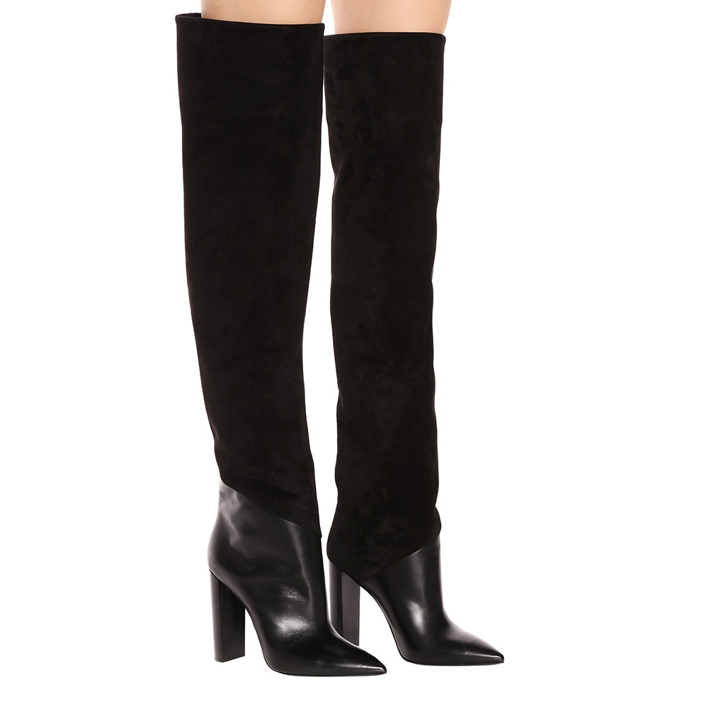 Women's long boots Black Pointed toe Thick heels High Heel Over-the-knee boots British Style Rome shoes woman botas femininas