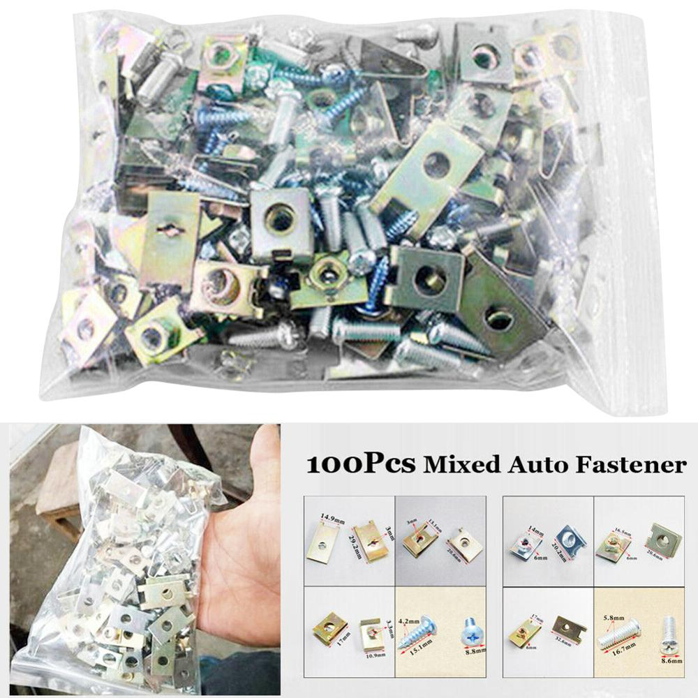 100pcs Mixed Auto Fasteners Car Self-tapping Screw Metal U Type Gasket Clips Car Body Door Panel Trim Fixed Screw Accessories