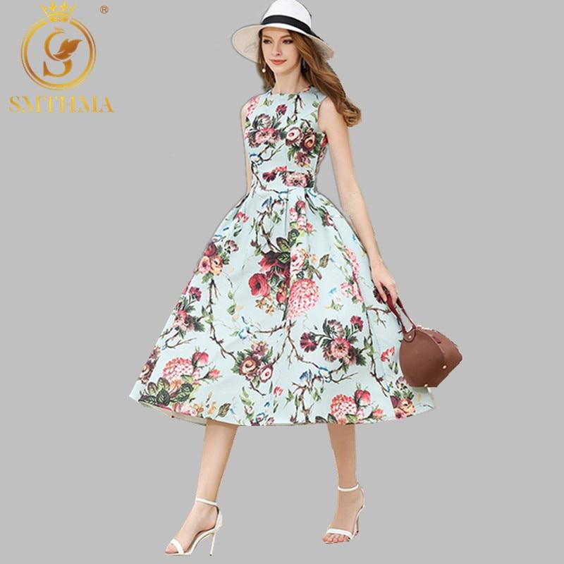 SMTHMA, alta calidad, nueva moda 2020, vestido de diseñador de pasarela, vestido de mujer sin mangas con estampado Floral Noble para fiesta