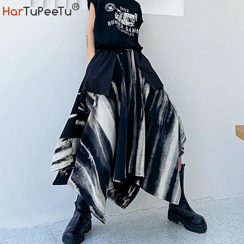Midi saia feminina outono inverno 2020 irregular elástico saias de cintura alta tie-dye plus size preto bolsos wiith