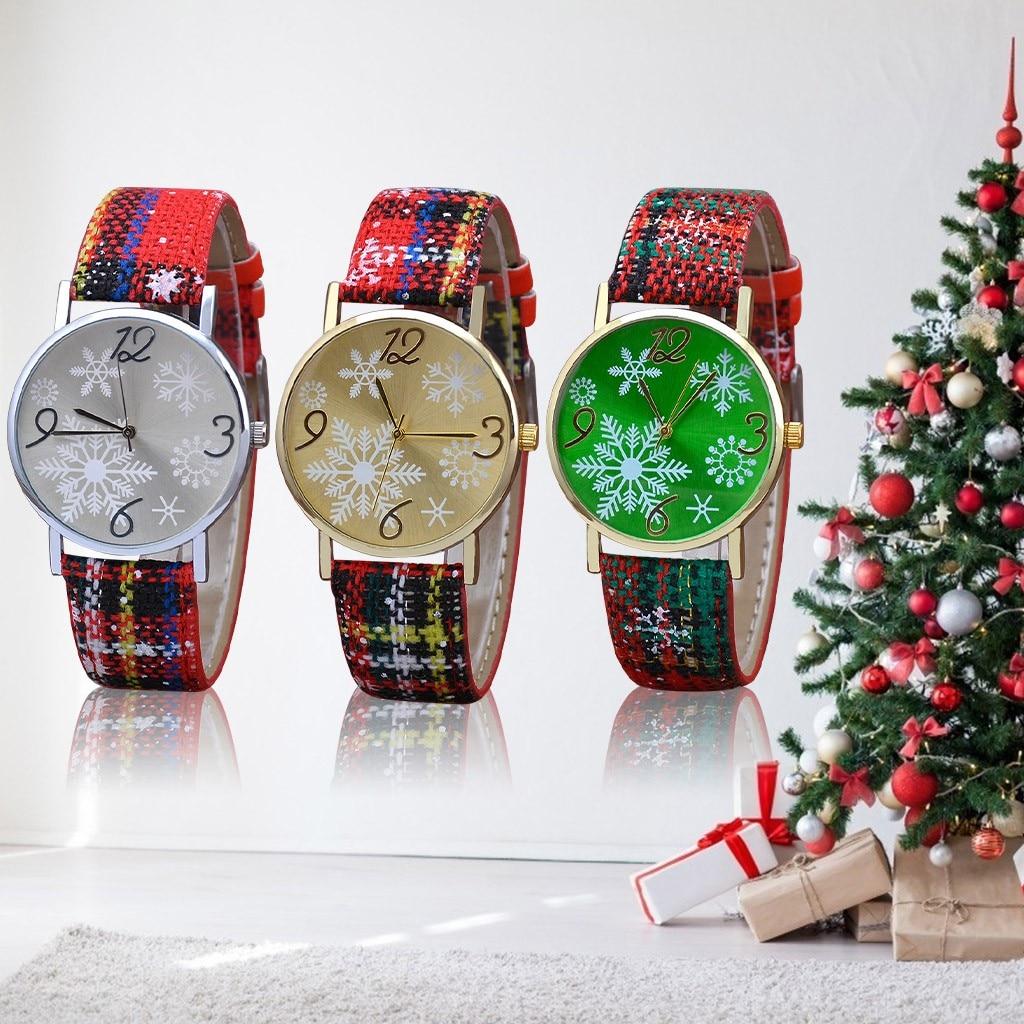 Рождественские часы модные женские кожаные кварцевые наручные часы Рождественский подарок Снежинка кварцевые наручные часы Zegarek Damski