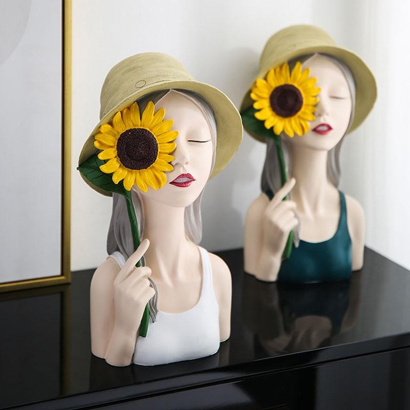 Acessórios de Decoração para Casa Nordic Resina Girassol Menina Estátuas Ornamentos Mesa Jantar Escultura Mobiliário Artesanato Presente Casamento