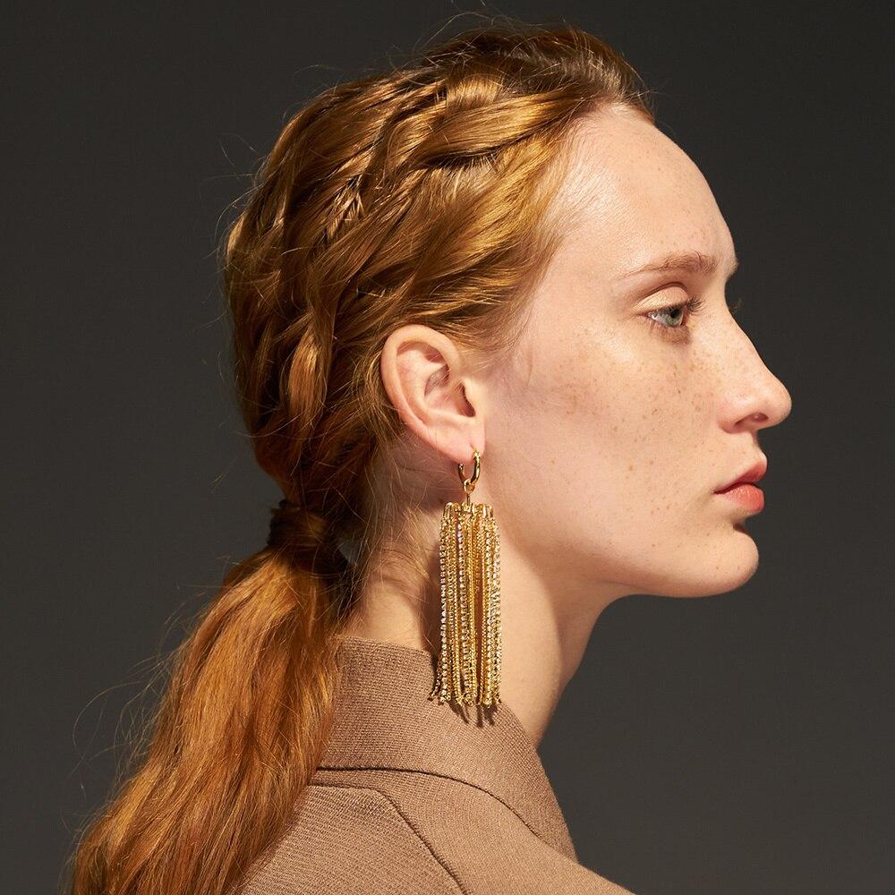 ENFASHION-أقراط طويلة على شكل فانوس متلألئ ، مجوهرات عصرية ، لون ذهبي ، مجموعة 2020 ، Kolczyki E201192