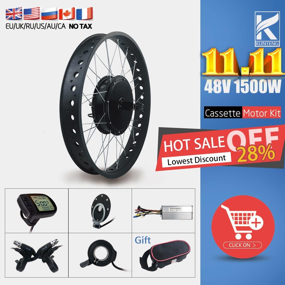 Fat Bike Electric Motor Wheel 48V 1500W Rear Cassette Brushless Hub  Motor Kit For Snow ebike Conversion Kit 20 26inch