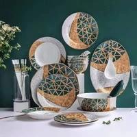 new light and high grade ceramic tableware rack set creative phnom penh household plate bone china tableware wholesale