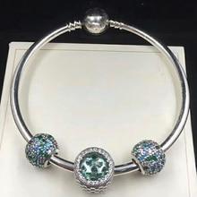 NEW 100% 925 Sterling Silver 791261MCZMX OCEAN MOSAIC PAVE BALL CHARM  Radiant Hearts Charm Glacier-Blue Crystals Bracelet Set