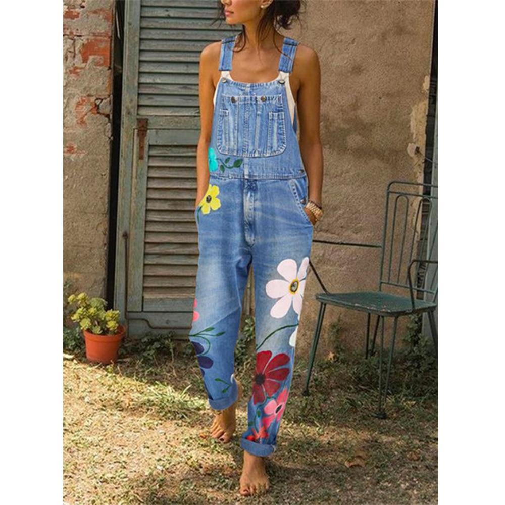 Стильные женские джинсовые комбинезоны с цветочным принтом и комбинезоны 2020 летние женские Клубные вечерние джинсовые комбинезоны с карма...