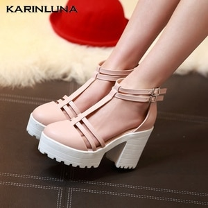 KarinLuna Hot Sale Plus Size 46 Gladiator Women Sandals Square Heels Round Toe Platform Pumps Summer Party Woman Shoes