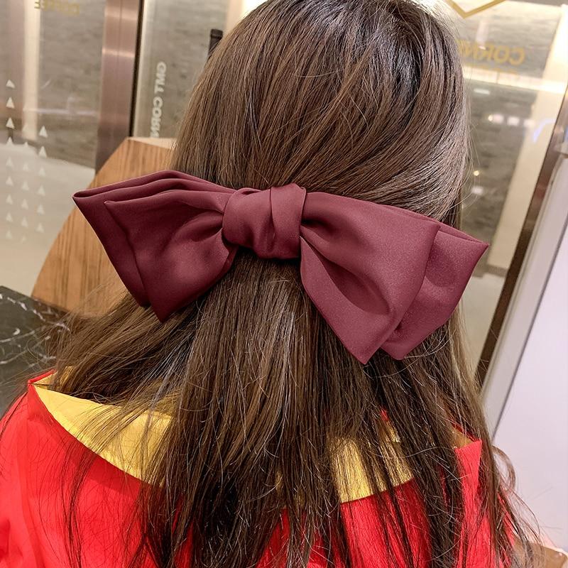 Japanese Style Lolita Big Bow Hair Band/Clip Back Head Hair Accessories Horizontal Clip Spring Clip