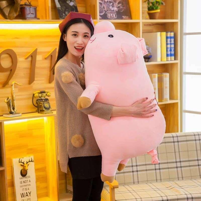 "35""/90cm Giant Pink Pig Plush Toy Stuffed Animal Pillow Big Fat Pig Sofa Cushion"