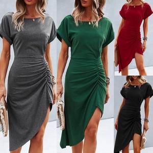 Simple Fashion Women Round Neck Hypotenuse High Waist Dress Beach Casual Short Sleeveless Daily Wear Skirt Evening Party Dress