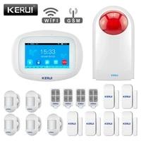 KERUI     systeme dalarme K52  wi-fi  GSM  ecran tactile 4 3    capteur PIR  sans fil  sirene  capteur de porte  kit de securite pour la maison
