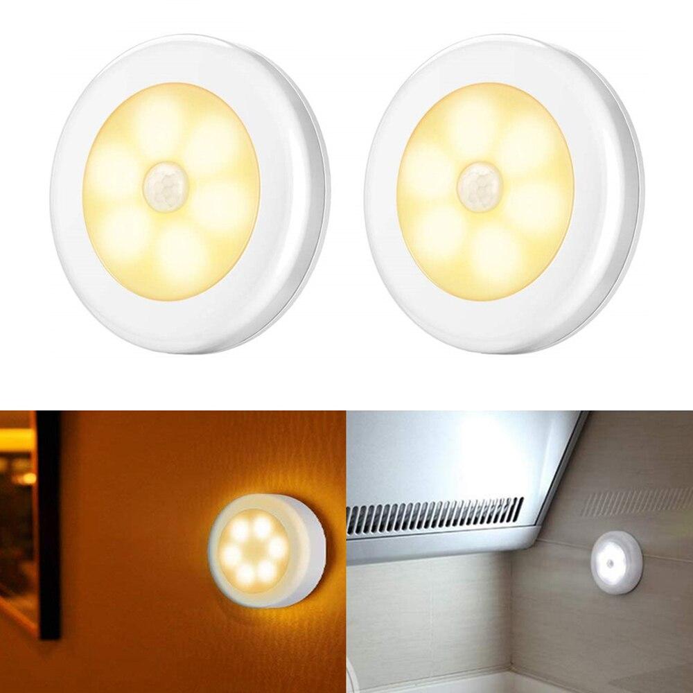 1/3/6 Uds Sensor de movimiento LED luz de noche inalámbrico armario magnético luz alimentado por batería armario lámpara de pared del dormitorio lámpara de encendido/apagado automático