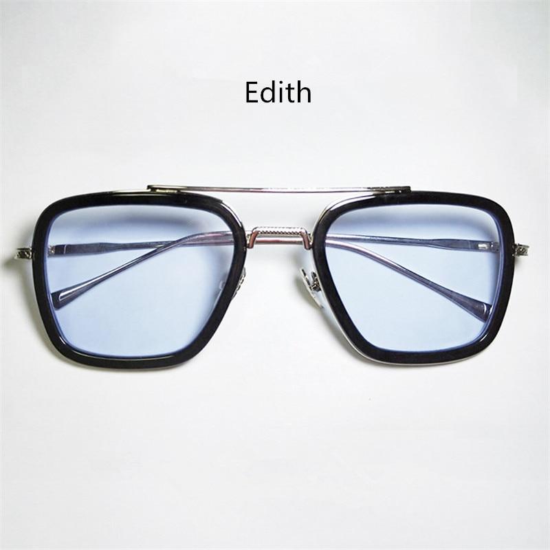 Edith Glasses Fashion Woman Sunglasses Men Plane Mirror Iron Man Eyewear Zipper Glasses Case