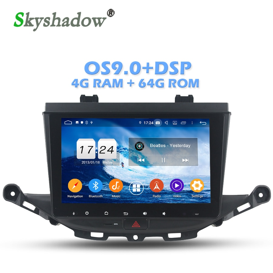 DSP IPS pantalla Android 9,0 4GB + 64GB + 8 Core reproductor de DVD del coche GPS mapa Radio wifi Bluetooth 4,2 para Opel ASTRA K 2016 de 2017