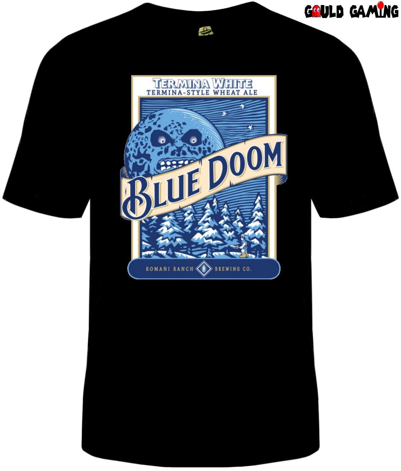 Máscara de Majoras azul Luna cerveza hombres Unisex camiseta divertida videojuego de enlace de selda nuevo
