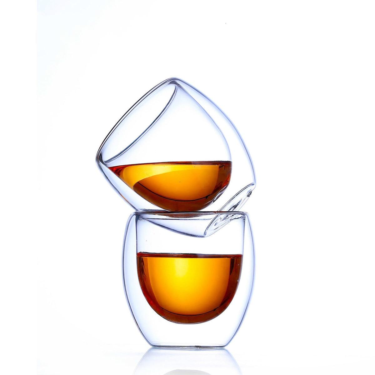 6 piezas Bodum forma de huevo doble pared Anti escaldado Mini Kung Fu Puer juego de tazas de té Shot Glass Home Teacup Nespresso vaso