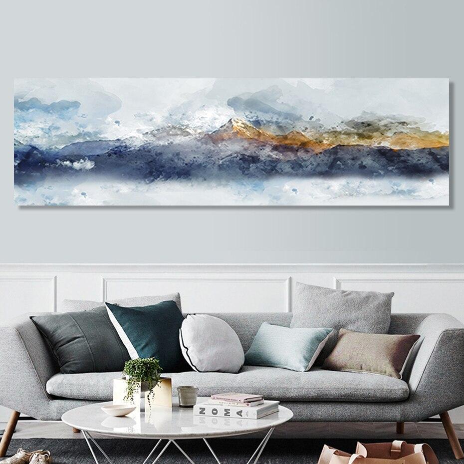 Fondo abstracto de paisaje largo para sofá de montaña, pinturas en lienzo, póster impreso, imágenes artísticas para pared, sala de estar, decoración del hogar, sin marco