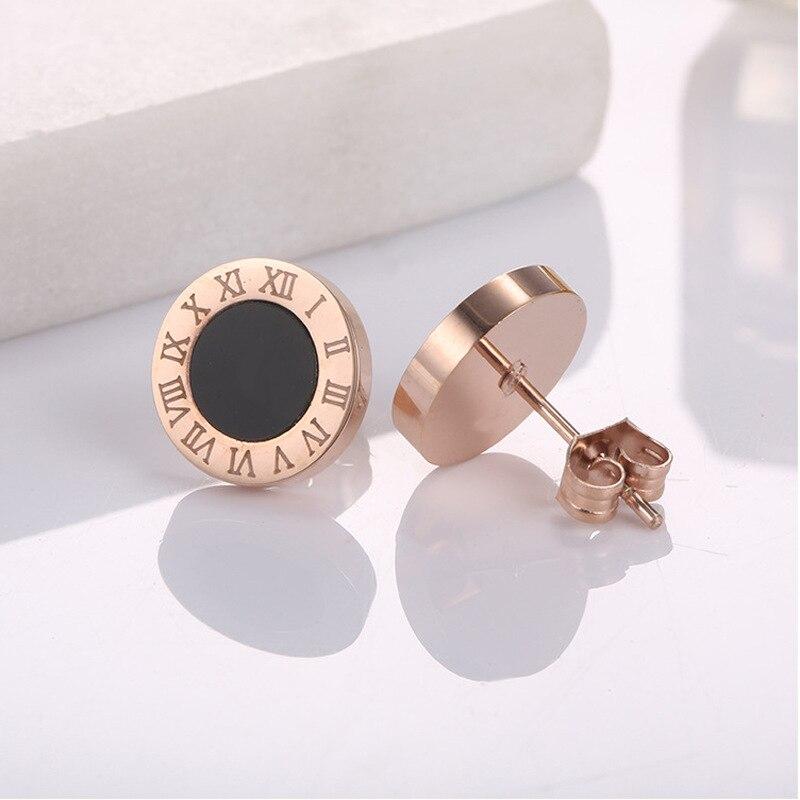 Nuevos pendientes a la moda de acero inoxidable con tachuelas de cristal acrílico para mujer y hombre, joyería con números romanos Vintage, pendiente pequeño