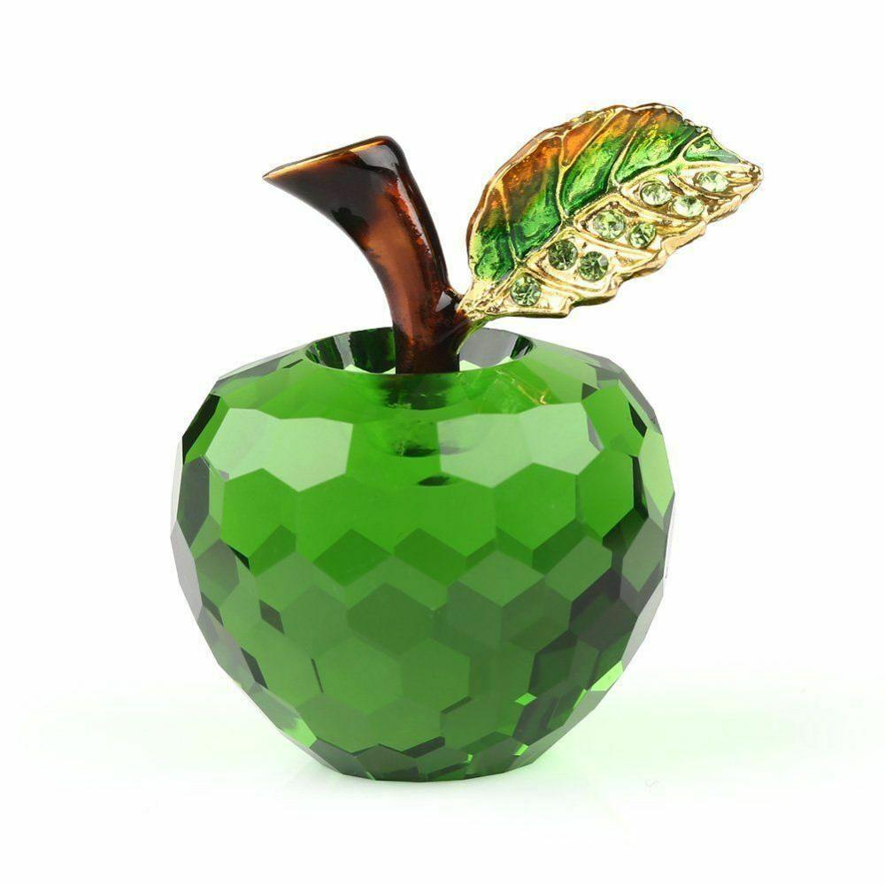 60mm /40mm 3D Cut Crystal pisapapeles verde glaseado figura en forma de manzana regalo de boda de cristal