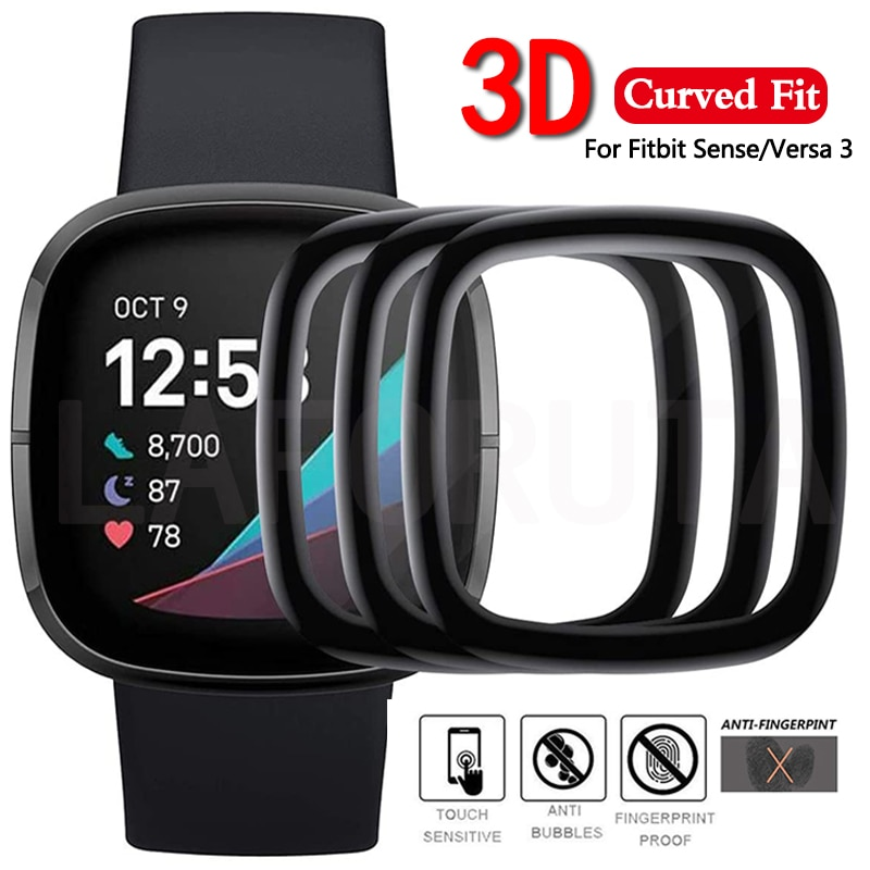 Film For Fitbit Versa 3 Sense Protective Film Cover Soft Curved Edge Full Coverage Screen Protector for Fitbit Sense (Not Glass)